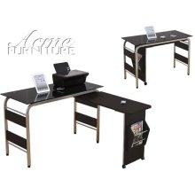 Garion Black Tempered Glass Finish Computer Desk Set