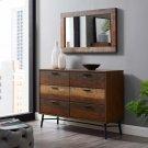 Arwen Rustic Wood Frame Mirror in Walnut Product Image
