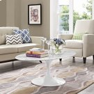 """Lippa 48"""" Oval-Shaped Artificial Marble Coffee Table in White Product Image"""