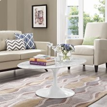 """Lippa 48"""" Oval-Shaped Artificial Marble Coffee Table in White"""