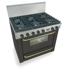 "36"" Six Burner All Gas Range, Sealed Burners, Black with Brass"