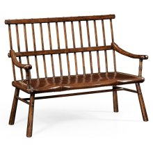 Rustic Dark Oak Country Bench with Leather Seat