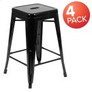 """24"""" High Metal Counter-Height, Indoor Bar Stool in Black - Stackable Set of 4 Product Image"""