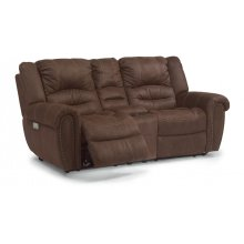 New Town Fabric Power Reclining Loveseat with Console and Power Headrests