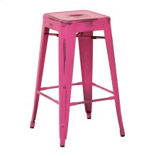 "Bristow 26"" Antique Metal Barstool, Antique Pink Finish, 4 Pack"