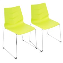 Arrow Sleigh Chair - Set Of 2 - Chrome, Lime Green Polypropylene