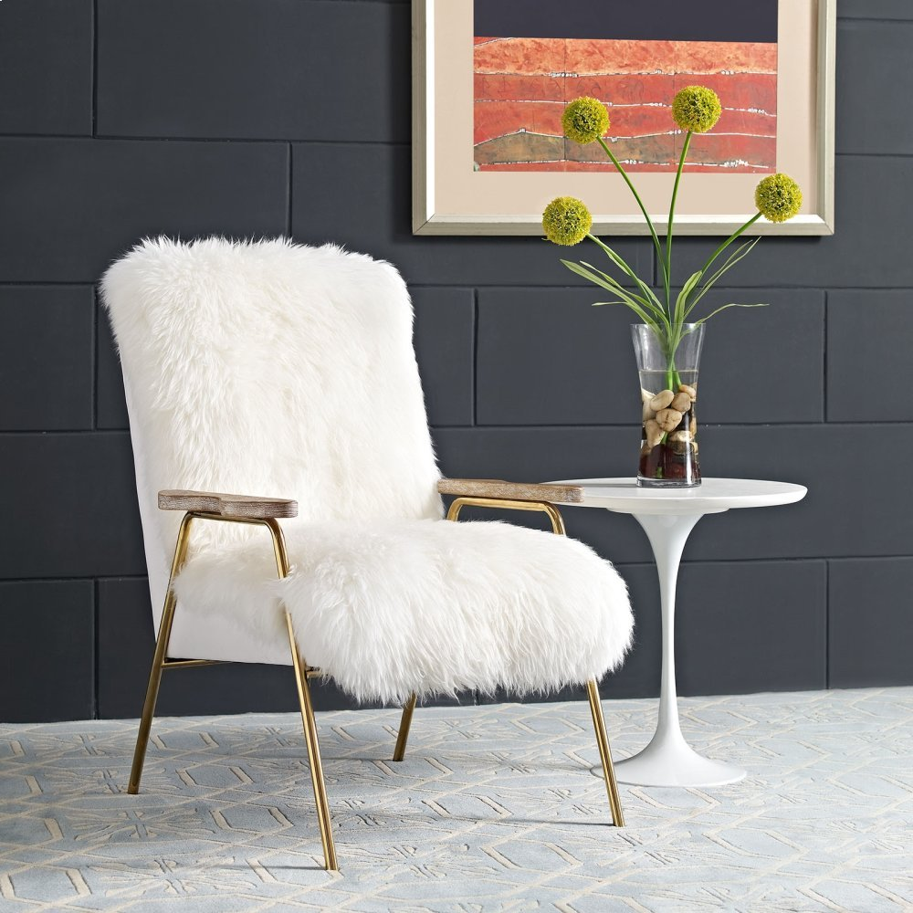 Sprint Sheepskin Armchair in Brown White