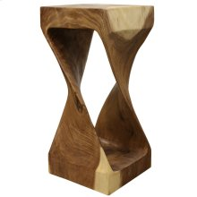 Natural  12in X 26in X 12in Natural Sculptural Sugar Wood Stool