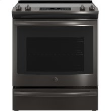 "GE® 30"" Slide-In Electric Convection Range-Black Stainless"