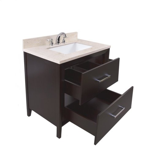 White CANTO 36-in Single-Basin Vanity Cabinet with Crema Marble Stone Top and Karo 20x13 Sink