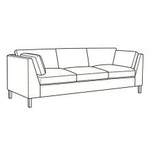 Long Sofa with Nickel Metal Leg