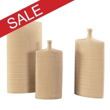 Cream Glaze w/ Crosshatch Detail Ceramic Vases - Set of 3