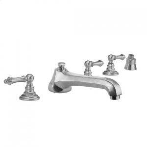 Antique Brass - Westfield Roman Tub Set with Low Spout and Ball Lever Handles and Straight Handshower Mount Product Image