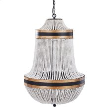 PORFINO CHANDELIER  Natural Wood Bead Body with Gold and Black Metal Accents