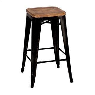 Metropolis Backless Counter Stool Wood Seat, Black