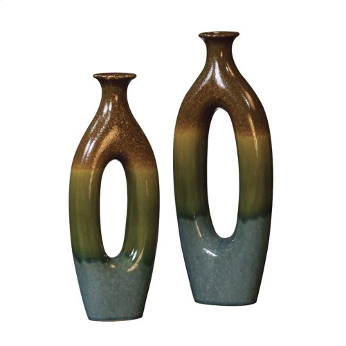 Brown, Blue & Green Ceramic Vase