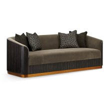 "86 1/2"" Fusion Curved Macassar Ebony & Brass Sofa, Upholstered in Fusion Velvet"