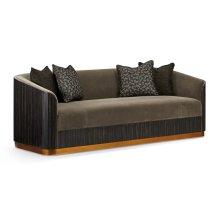 "86 1/2"" Fusion Curved Macassar Ebony & Brass Sofa, Upholstered in Fusion Velvet"