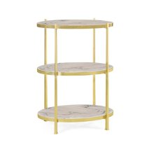 Blanco Equador marble & polished solid brass three-tier table (Large)