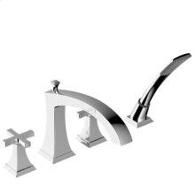 Leyden Deck-Mount Bathtub Faucet with Handshower Trim with Cross Handles - Polished Chrome