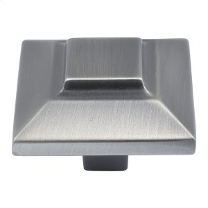 Trocadero Large Square Knob 1 1/2 Inch - Pewter Product Image