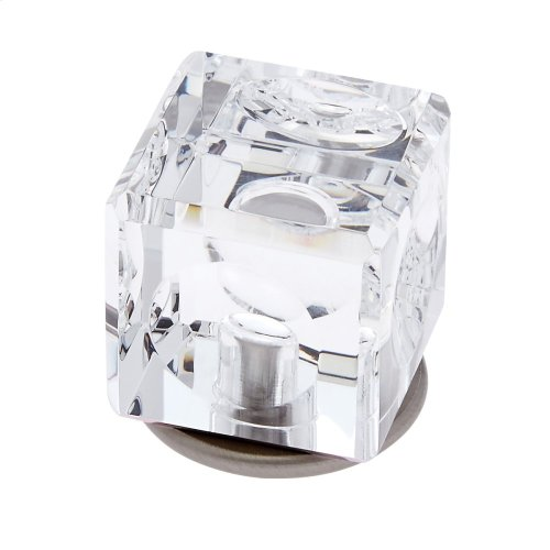 Satin Nickel 30 mm Square Crystal Knob