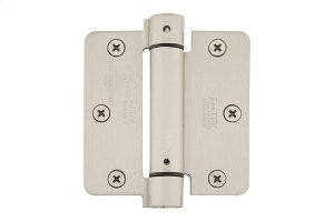 "3-1/2"" x 3-1/2"" 1/4"" Radius Corners Spring Hinges, Plated Steel Product Image"