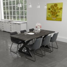 Zax/Calvin 7pc Dining Set, Charcoal
