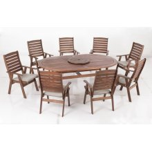 "Milo 87"" Oval Karri Gum FSC KD Dining Table w/ lazy susan & umbrella hole"