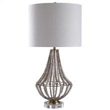 AURORA TABLE LAMP  Natural Wood Bead Body with Metal Base  Hardback Shade  150 Watt