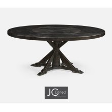 "72"" Dark Ale Round Dining Table with Inbuilt Lazy Susan"