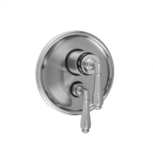 """Antique Brass - Round Step Plate with Smooth Lever Thermostatic Valve and Smooth Lever Volume Control Trim for 1/2"""" Thermostatic Valve with Integral Volume Control (J-THVC12)"""