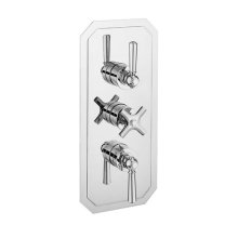 Waldorf 3000 Thermostatic Valve Trim with Integrated Volume Control and Volume Control/Two-way Diverter and Metal Lever Handles - Polished Chrome