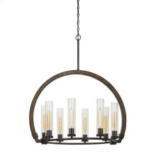 60w X 8 Sulmona Wood/Metal Chandelier With Glass Shade (Edison Bulbs Not Included)