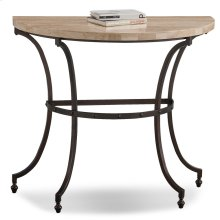 Demilune Travertine Stone Top Console with Rubbed Bronze Metal Base #10125