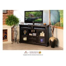"""64"""" Dark Ent. TV Console w/2 Glass doors, 2 drawers"""