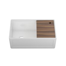 """Fira 093319 - undermount with apron front fireclay Kitchen sink with accessory ledge , 31 1/4"""" × 15 3/4"""" × 10"""""""
