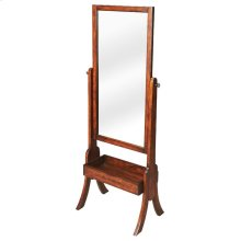 This casual antique cherry finished cheval mirror will beautifully compliment any bedroom or dressing area. Featuring a swivel-tilt design; this full-length mirror can easily be set to the desired angle by adjusting the antique brass finished thumbscrews