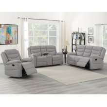 "Chenango Manual Motion Console Loveseat Light Gray 72'x37""x42"""