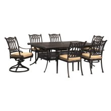Large Extension Table W/6 Dining Chairs & 2 Swivel Rocker Chairs