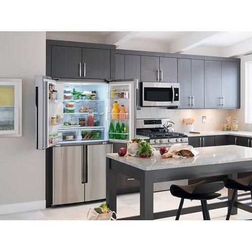 23 cu. ft. Counter Depth 4-Door Flex Refrigerator with FlexZone in Stainless Steel