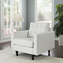 Empress Bonded Leather Armchair in White