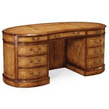 Walnut kidney pedestal desk