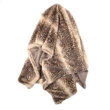 BARI THROW- BROWN CREAM  Faux Fur