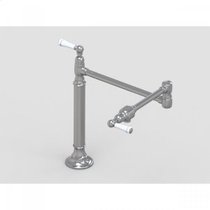 "Brushed Stainless - 19 3/8"" Deck Mount Pot Filler with White Ceramic Lever Product Image"