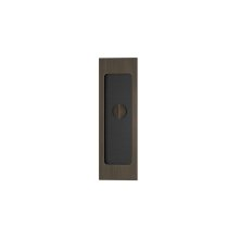 Rectangle Flush Pull - Release Recess Leather In Black Tea And Vintage Patina
