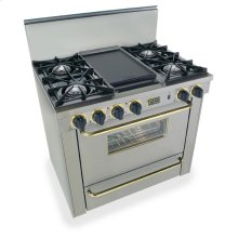 """36"""" All Gas Range, Open Burners, Stainless Steel with Brass"""