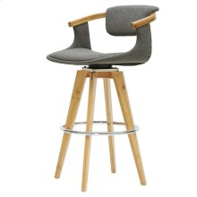 Darwin KD Fabric Bamboo Bar Stool, Stokes Gray/Natural
