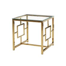 Ec, Gold Metal/glass Accent Table, Kd