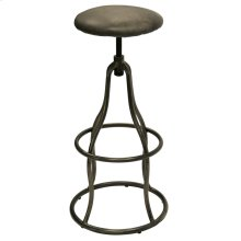 CHURCHILL SWIVEL STOOL- EBONY  Vintage Leather- Antique Ebony with Iron Finish on Adjustable Bar or